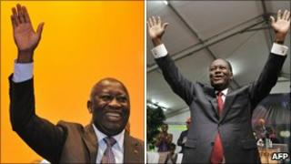 President Laurent Gbagbo (l) and Alassane Ouattara (r)