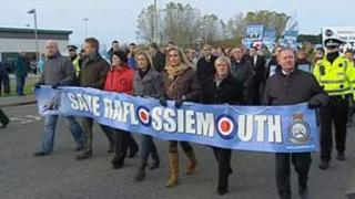 Demonstrators on the march