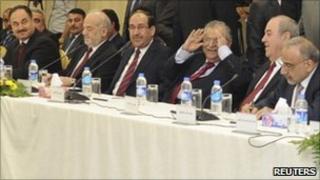Iraqi leaders at a meeting in Irbil, 8 Nov
