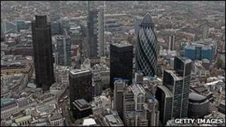 Aerial picture of City of London