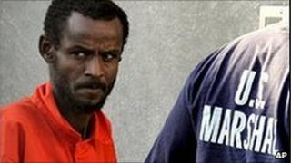 File picture of one of the Somali suspects outside the courthouse in Virginia.