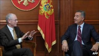 Montenegro President Milo Djukanovic (right) with European Council President Herman Van Rompuy, 19 Oct 10