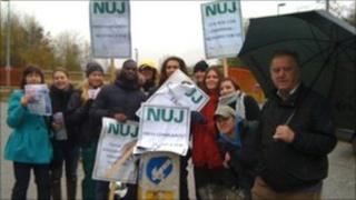 NUJ members on strike outside the Southern Daily Echo offices on Tuesday