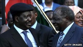 Mr Kibaki and Mr Odinga (l) (file image from 5 August 2010)