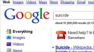 "Google search result for ""suicide"""