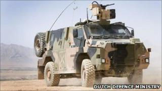 A Dutch Bushmaster armoured vehicle in Uruzgan, Afghanistan (image: Dutch defence ministry)