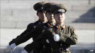 North Korean soldiers at the truce village of Panmunjom on 3 November 2010