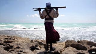 Armed Somali pirate along the Hobyo coastline in north-eastern Somalia [File photo: 7 January 2010]