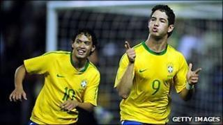 Pato of Brazil celebrates after scoring in the friendly match against Ukraine in October