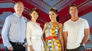 X Factor judges (left - right) Louis Walsh, Dannii Minogue, Cheryl Cole and Simon Cowell