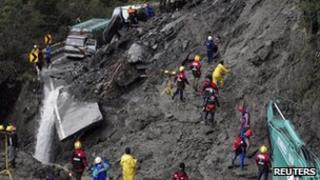 Rescue work on a landslide-hit highway in Taiwan on 22 October 2010