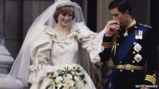 Princess Diana and Prince Charles on their wedding day in 1981