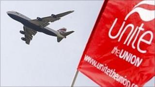BA plane flies over a Unite Union banner