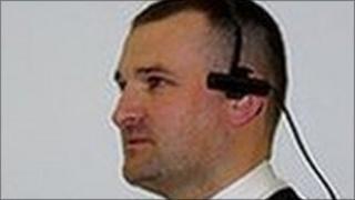 Policeman with headcam