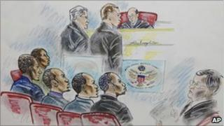 A court room sketch of the suspected Somali pirates