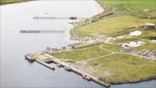 Aerial view of the former Lyness naval base where the service and supply base will be