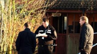 Police at fatal fire scene in Hodnet- pic by Shropshire Fire and Rescue Service