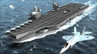 Artist's impression of a planned super aircraft carrier of the Royal Navy