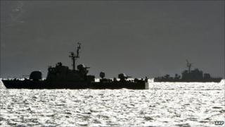 South Korean navy vessels patrol near Yeonpyeong island, 25 November 2010
