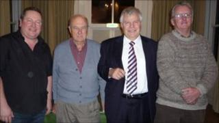 (l-r): Matt Birmingham, Tony Llewellyn, Paul Arditti, and Raymond Berry