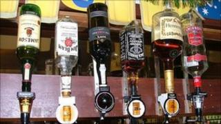 Bottles of alcohol on a bar