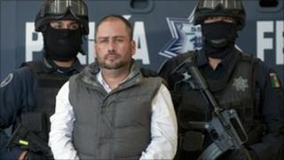 Arturo Gallegos Castrellon at federal police headquarters in Mexico City