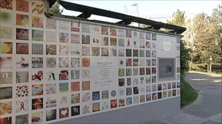 Part of the memorial wall