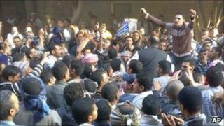 Supporters of the Muslim Brotherhood protest in the town of Qusiya, near Assiut, in Egypt, on Monday, saying Sunday polls were rigged