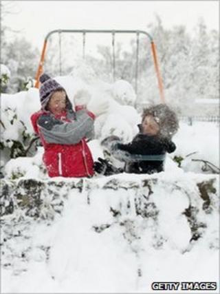 Children play in the snow in Auchterarder