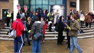 Student protestors outside the BBC