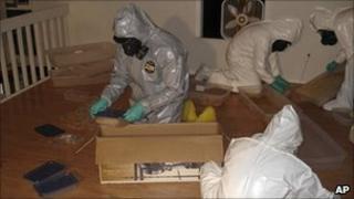 Police inside the lab in Georgia