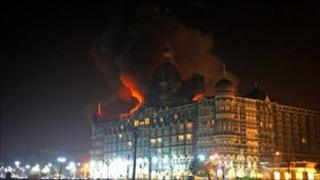 Fire breaks out at the Taj Mahal Palace Hotel during the terrorist attacks on Mumbai, 26/11/2008
