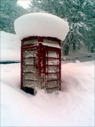 Phonebox in snow at Crathie