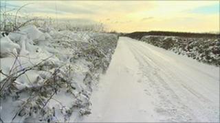 Snowy lane in north Devon