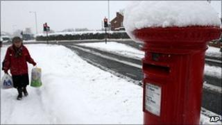 Snow-covered post box in Gateshead