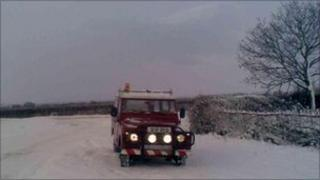 Snowy conditions in Leicestershire