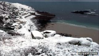 Snow at Sennen Cove. Pic: Russ Pierre