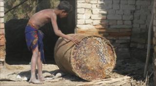 Boy in village of Abdul Aziz Chachar