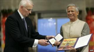 Muhammad Yunus winning the Nobel Prize for Peace in 2006