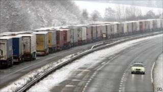 Lorries on the M20 near Ashford, Kent