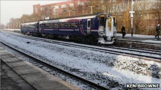 Taken in falling snow at Kilmarnock station by Ken Browne