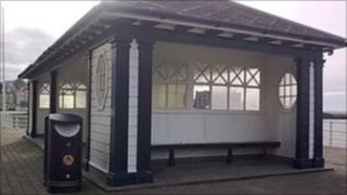 One of the public shelters on Aberystwyth promenade