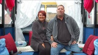 Noreen Quin and Nick Kearns in the wedding skip