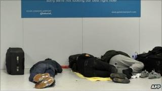 Sleeping passengers at Gatwick