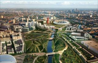 CGI impression of the Olympic Park looking South