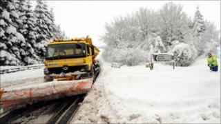Snow plough in Alnwick