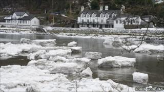 What looks like icebergs on the Mawddach estuary in Snowdonia on Friday