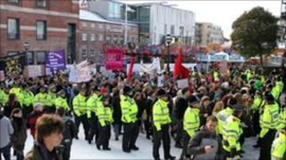 Student protest in Leeds