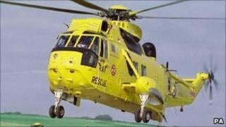 A rescue helicopter