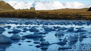 Ice in Canna Bay, Canna. Pic: NTS